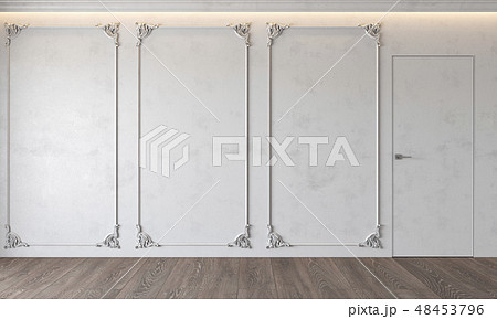 Modern classic white interior with stucco, door, wooden floor, ceiling backlit, molding. 48453796