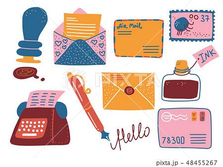 Retro Post Supplies Set, Mailbox, Letters, Postcard, Pen, Inkwell, Typewriter Vector Illustration 48455267