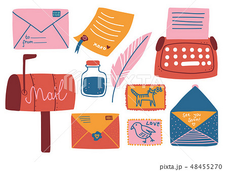 Post Supplies Set, Mailbox, Letters, Postcard, Pen, Inkwell, Typewriter Vector Illustration 48455270