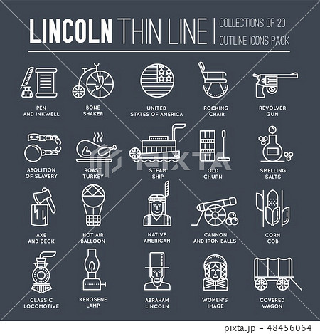 President Abraham Lincoln day with historical XIX (19) century elements thin line icon set. Vector 48456064