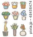水彩画風の多肉植物 48456474