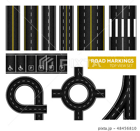 Road Markings Top View Icon Set 48456810