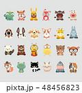 動物 セット 組み合わせのイラスト 48456823