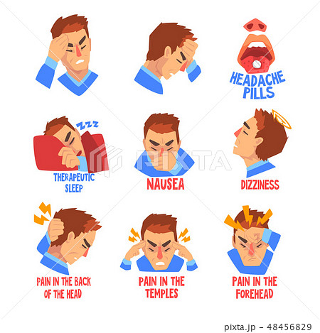 Man suffering from headache and dizziness set, disease of the head, migraine, sick unhappy man 48456829