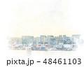 お台場から見た都市風景 水彩画風 48461103