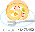 ロールケーキ ケーキ 菓子のイラスト 48473452
