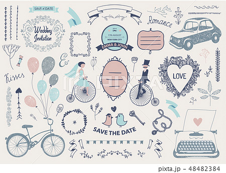 Vector Hand drawn doodle Love collection, illustration Sketchy icons. Big set for Valentine s day 48482384