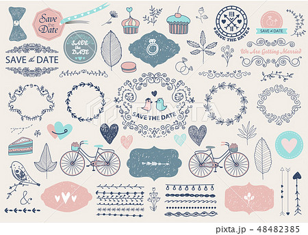 Vector Hand drawn doodle Love collection, illustration Sketchy icons. Big set for Valentine s day 48482385