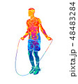 Abstract young athlete jumping rope from splash of watercolors 48483284