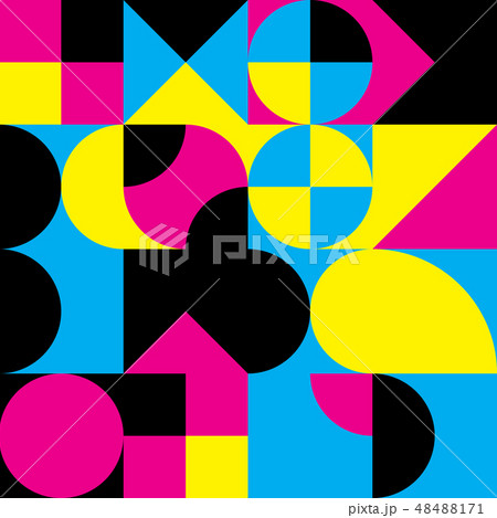 Abstract geometric retro design. Vector seamless pattern in CMYK colors 48488171