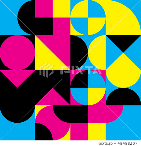 Abstract geometric retro design. Vector seamless pattern in CMYK colors 48488207