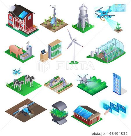 Smart Farm Element Set. Agriculture Technology 48494332