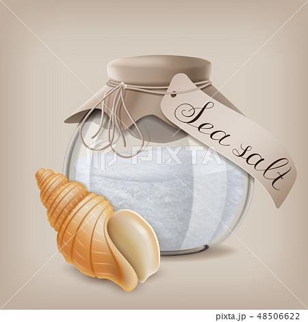 Sea salt in a glass jar and seashell. Vector illustration 48506622