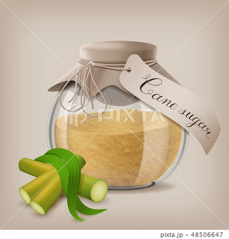 Brown sugar in jar with sugar cane and leaves. Vector illustration 48506647