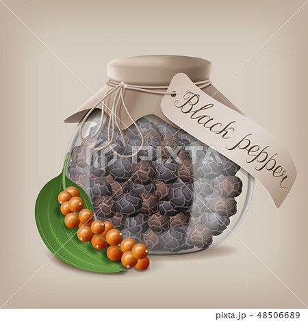 Black pepper in a glass jar for storage of loose spices. Vector illustration 48506689