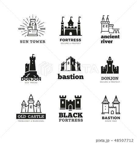 Medieval castle and knight fortress vector ancient royal logo set 48507712