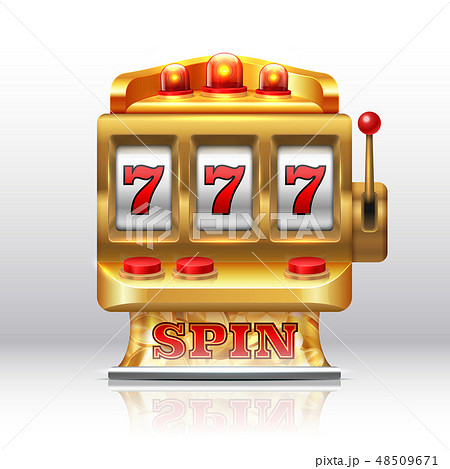 777 jackpot slot machine. Golden casino spin, isolated gambling prize machine. Vector realistic game 48509671