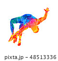 Abstract athlete jumps in height from splash of watercolors 48513336