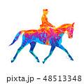 Abstract Equestrian sport from splash of watercolors. Jockey in uniform riding horse. Dressage 48513348
