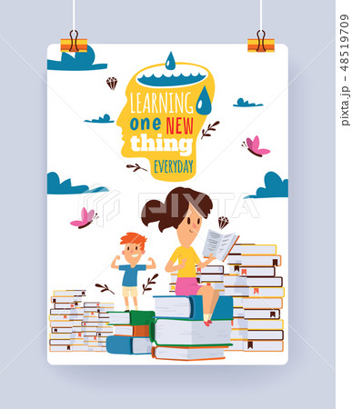 Kids reading books vector child character boy girl read textbook with bookmark illustration backdrop 48519709