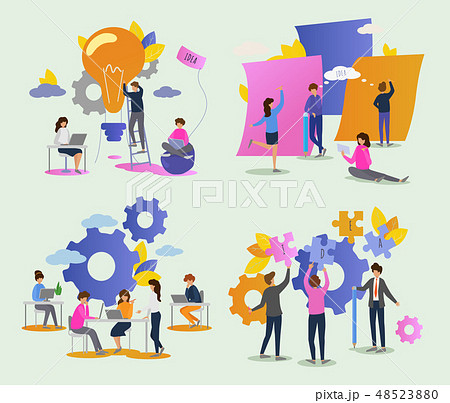 Creative people vector man woman character working together at office illustration set of teamwork 48523880