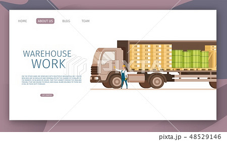Warehouse Open Express Delivery Truck with Cargo 48529146