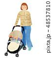 ママ 赤ちゃん ベビーカーのイラスト 48537810