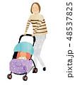 ママ 赤ちゃん ベビーカーのイラスト 48537825