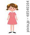 女の子 子供 直立のイラスト 48540164