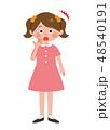 女の子 びっくり 子供のイラスト 48540191