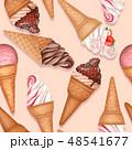 チョコレート デザート シームレスのイラスト 48541677