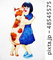 わんこ 犬 女の子のイラスト 48545575