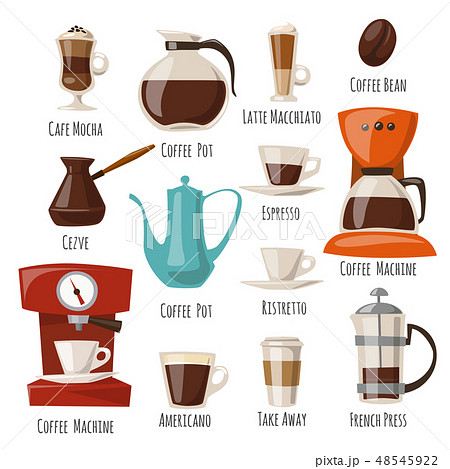 Vector coffee icons set with food and drink elements.  48545922