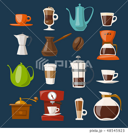 Vector coffee icons set with food and drink elements.  48545923