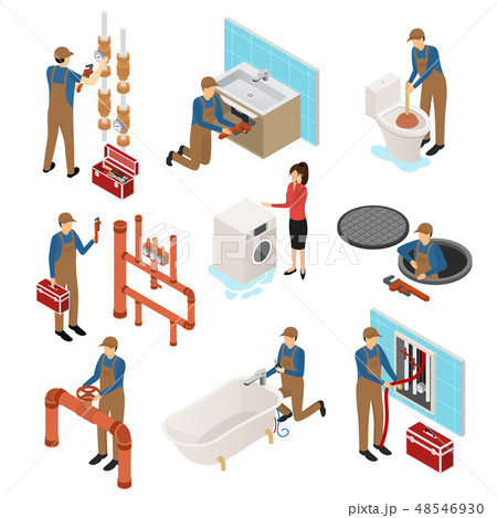 Character Plumber in Uniform 3d Icon Set Isometric View. Vector 48546930