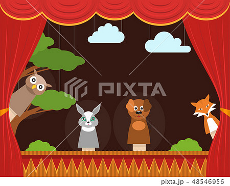 Cartoon Children Puppet Theater Background Card. Vector 48546956