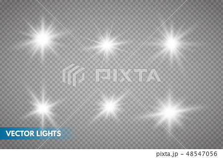 Set of Glowing Light Stars  48547056