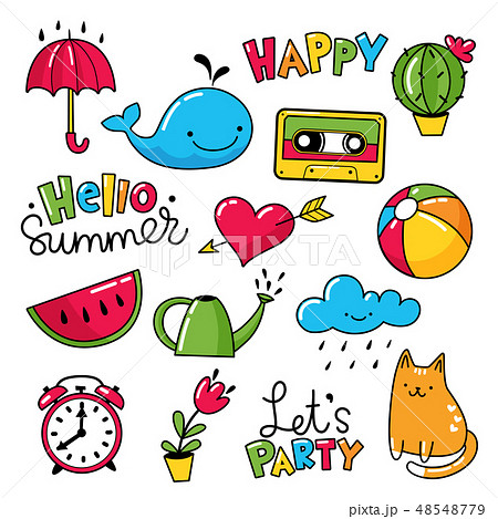 Set of cool stickers, patches with food and summer elements.  48548779