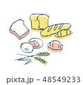 パン 食べ物 複数のイラスト 48549233