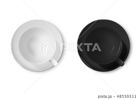 Realistic Vector 3d Glossy Blank White and Black Coffee Cup or Mug Icon Set Closeup Isolated on 48550311