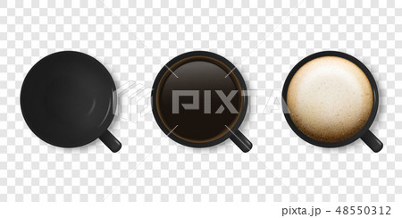 Realistic Vector 3d Glossy Blank Black Coffee Cup or Mug Icon Set with Americano, Espresso 48550312