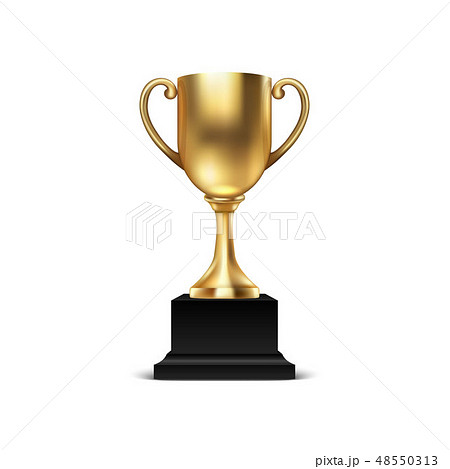 Realistic Vector 3d Blank Golden Champion Cup Icon Closeup Isolated on White Background. Design 48550313