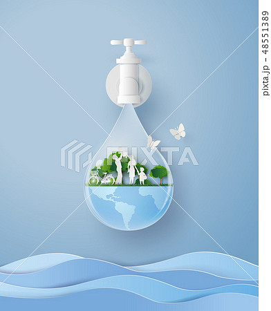 concept of eco and wolrd water day with family 48551389