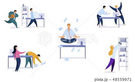 Office Daily Routine Vector Illustrations Set 48559971