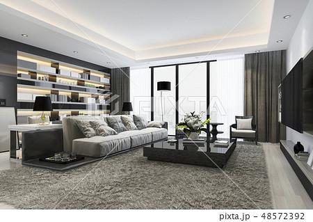 loft luxury living room and working room 48572392