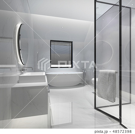 modern bathroom with luxury tile decor 48572398