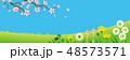 桜の枝と春の野原 横長 48573571