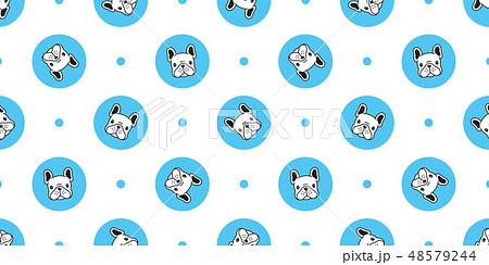Dog seamless pattern french bulldog vector polka  48579244