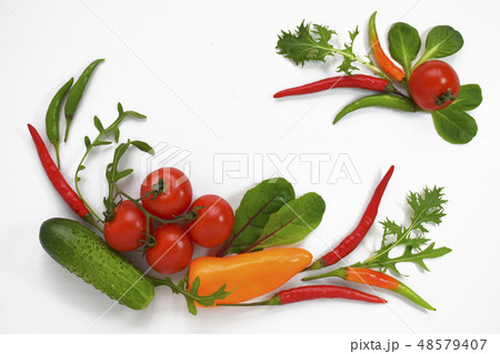 Healthy diet fresh vegetables flat lay isolated on white. Tomato, bell-pepper, cucumber, ruccola 48579407