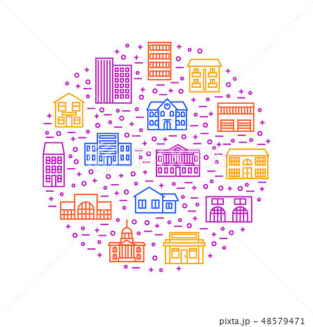 Property House Signs Thin Line Round Design Template. Vector 48579471